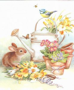 Dekorszalvéta Bunny with Watering Can