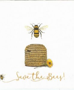 Save the bees white