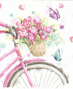 Dekorszalvéta Pink Bicycle with Basket