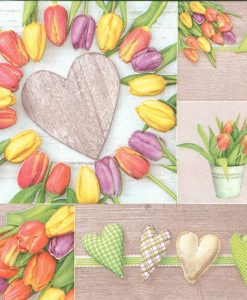 Dekorszalvéta colorful tulips Colage with Hearts