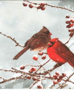 Dekorszalveta Cardinal Birds on snowy Branch