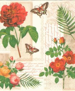 Dekorszalveta-Flowers and Butterfiles on vintagebackground